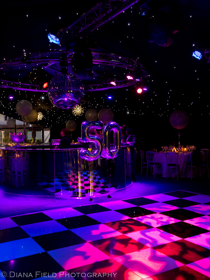 The dance floor in the marquee for a 50th birthday party